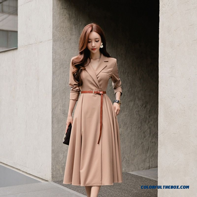 Elegant V-neck Women A-line Dress Casual Full Sleeve Long Dress Sashes Pleated Patry Vestidos Femme 2018 Autumn Winter