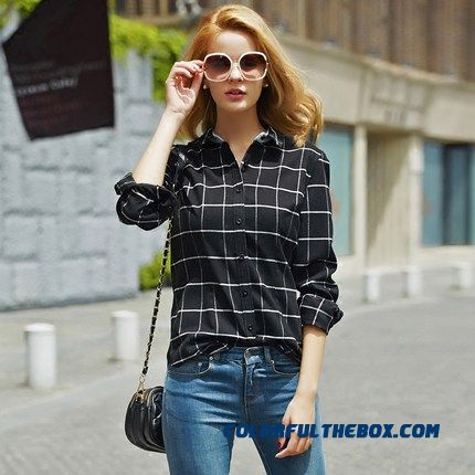 England Plaid Shirts Splicing Collar Skin-friendly Soft Warm Long-sleeved Plaid Shirt For Women
