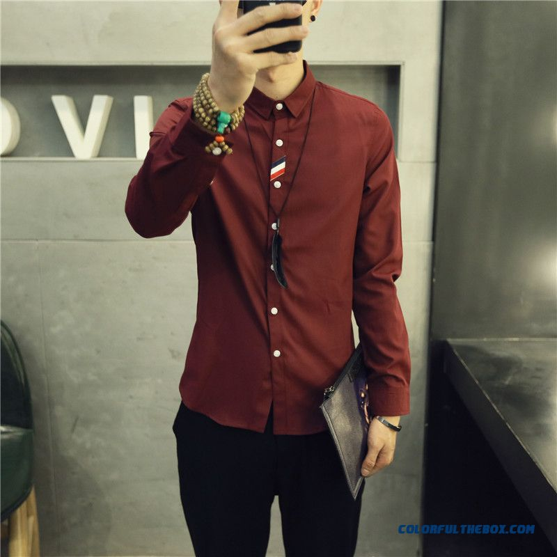 England Style Autumn And Winter Men's Casual Long-sleeved Shirt Slim Solid Color - more images 2