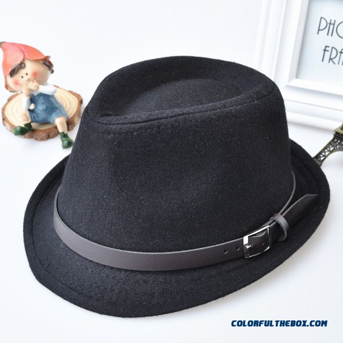 England Style Autumn And Winter Retro Black Top Hat Kids Wool Hat 52-54 Cm