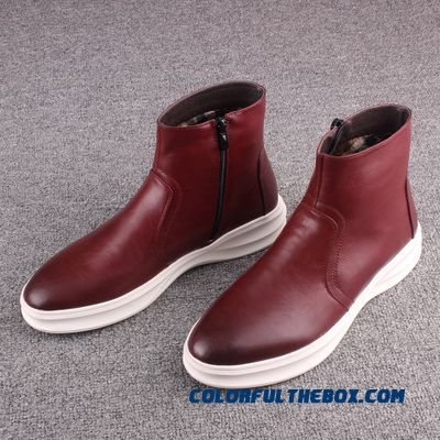 England Style Men Short Leather Boots Elevator Shoes Inside Fashion