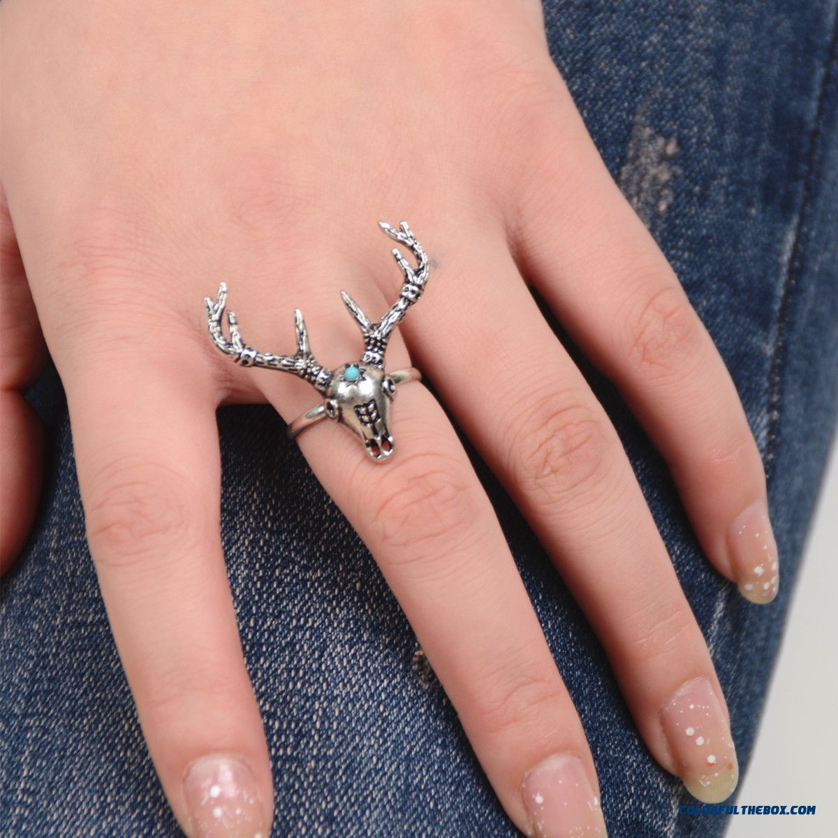 Ethnic Style Metal Heavy Industry Exaggeration Deer Head Ring Jewelry Free Shipping For Women - more images 1