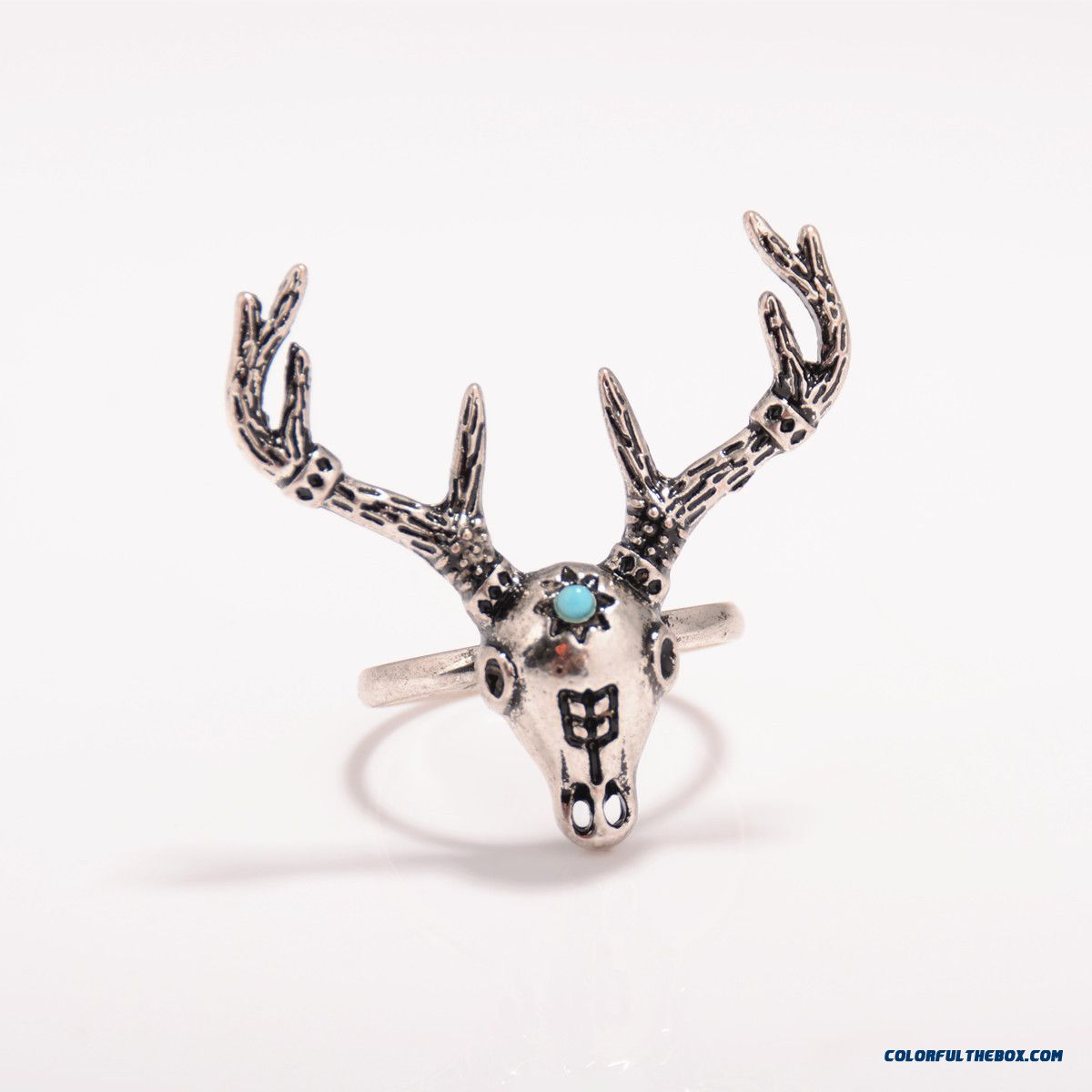 Ethnic Style Metal Heavy Industry Exaggeration Deer Head Ring Jewelry Free Shipping For Women - more images 4