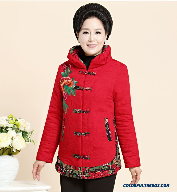 Ethnic Style Plus Velvet Coat Thick Coat Women Over The Age Of 60