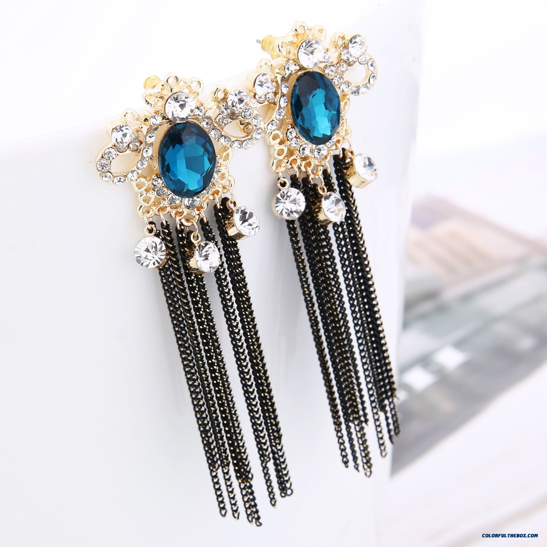 Europe And America Exaggerated Crown Chain Tassel Stud Earrings Hypoallergenic Earrings Women Jewelry - more images 2
