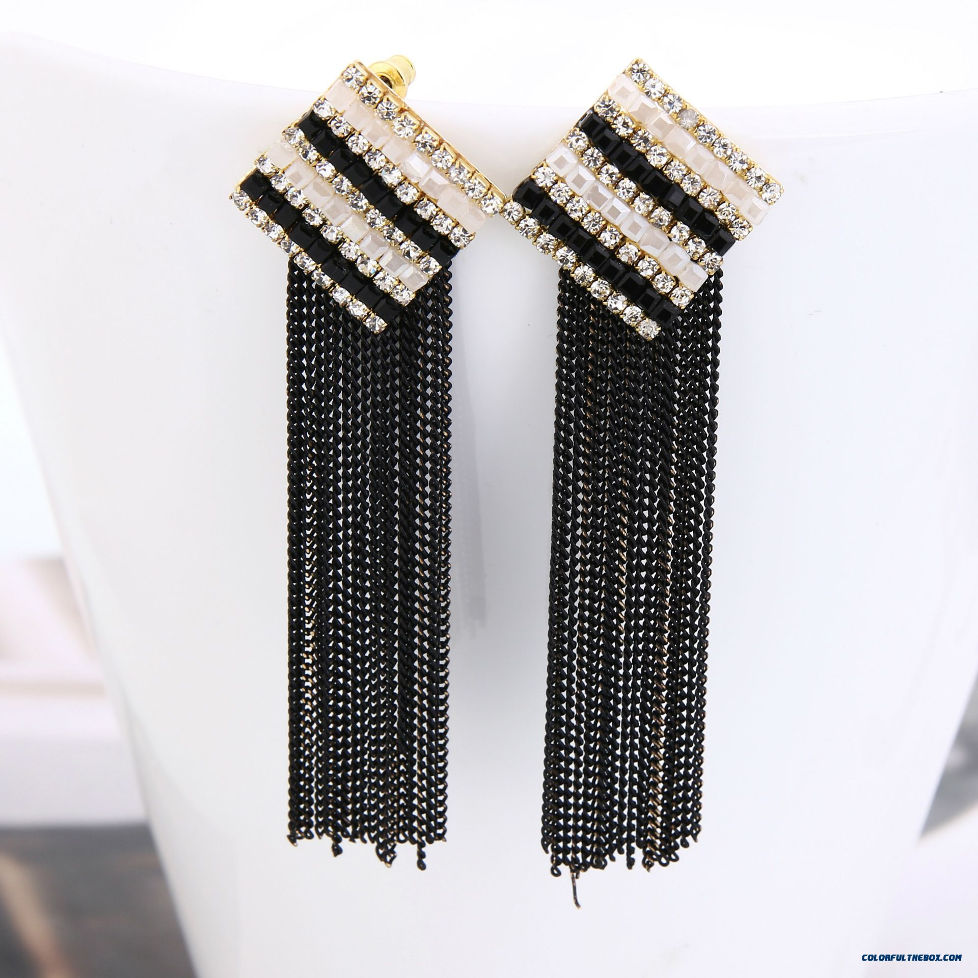 Europe And America Exaggerated Jewelry Crystal Rhinestone Chain Square Chain Tassel Stud Women Earrings