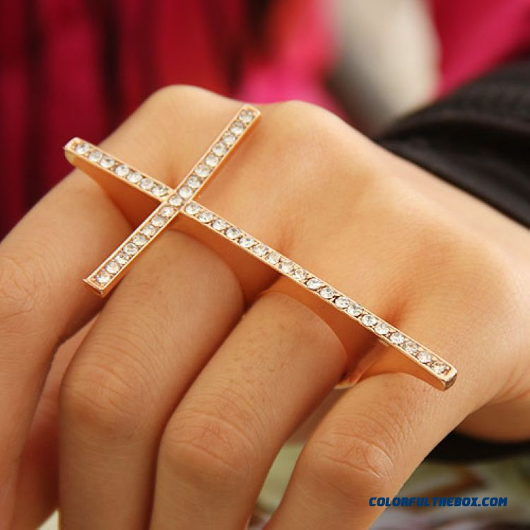 Europe And The United States Hot Korean Jewelry Personality Exaggeration Cross Ring Women Jewelry