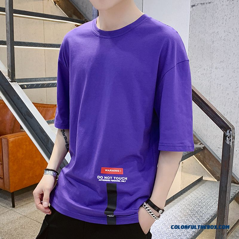 Europe Purple Coat Short Sleeve Men's Student Trend T-shirt Loose Summer