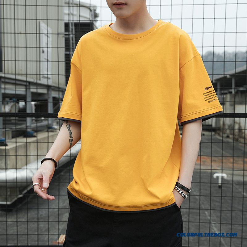 Europe Short Sleeve New 2019 Yellow Trend T-shirt Summer Men's Loose Leisure