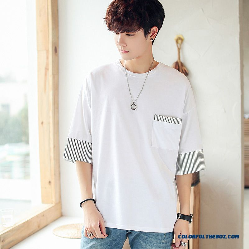 Europe Trend Men's 2019 Round Neck White Short Sleeve Summer Student Loose Half Sleeve New Stripes Three Quarter Sleeve