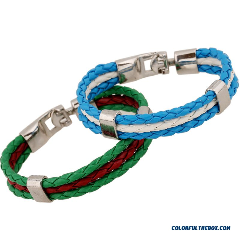 Europe Unisex Women Color Pu Leather Bracelet Ladies Jewelry