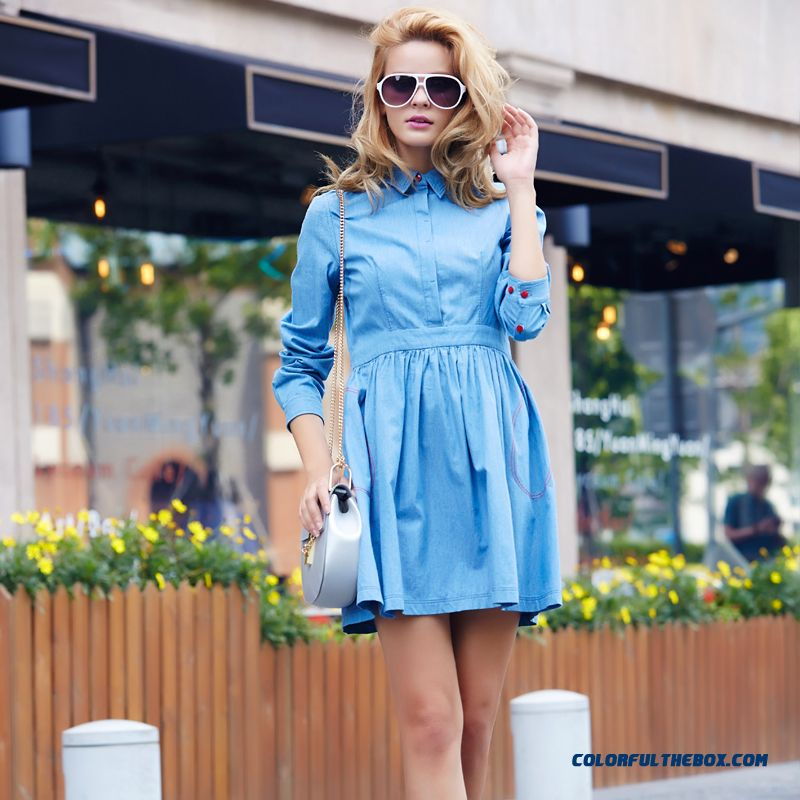b42ed48f15c ... European And American Denim Dress Slim Medium-long Shirt Shapped Waist  Dress Blouse Pressure Pleate