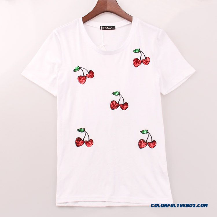 European And American Fashion Cherry Sequin Embroidery Round Neck Short Sleeve Women T-shirt