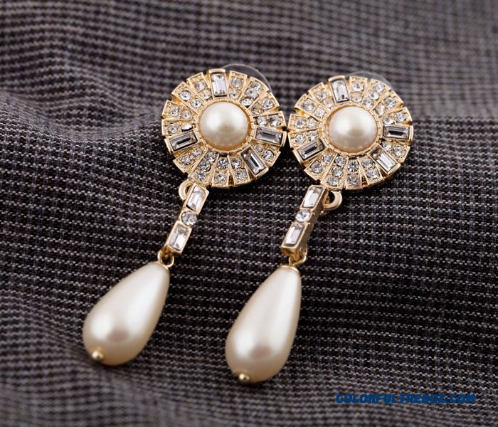 European And American Fashion Jewelry Wholesale New Alloy Ear Gem Pearl Drop Earrings Women