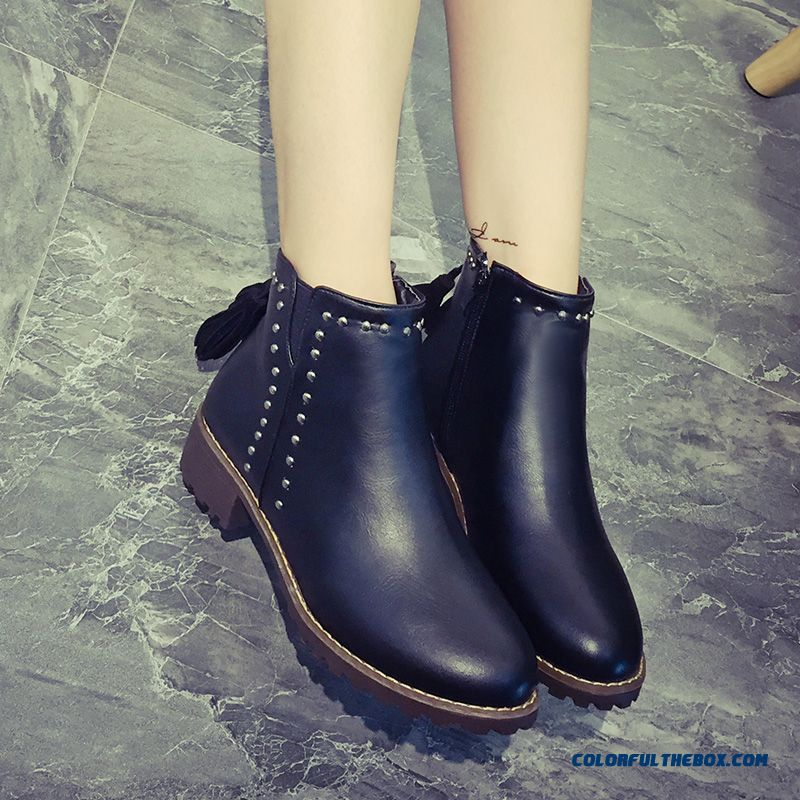 European And American Fashion Rivet Boots Side Zipper Round-toe Middle-heels