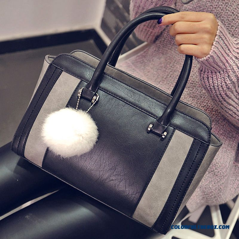 European And American Fashion Style Top-handle Bags With Hairball Pendant