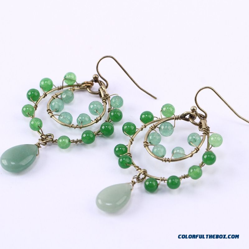 European And American Fashion Women Jewelry Wholesale Natural Malachite Green Fish Crystal Earrings Customize