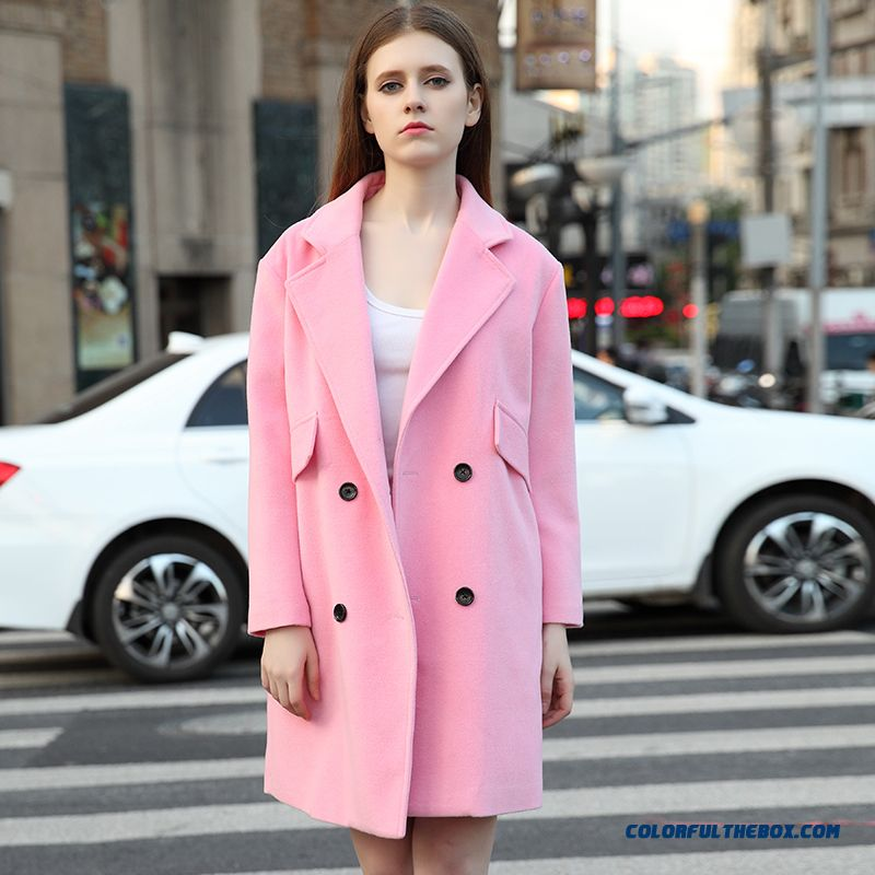 European And American Fashion Women Wool Coat Long Double-breasted Slim Winter Clothes Tide