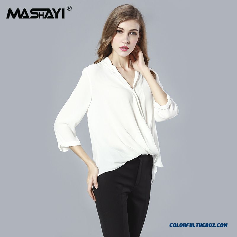 European And American High-end Women Loose Cotton V-neck Long-sleeved Shirt