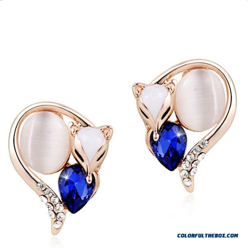 European And American Jewelry Crystal Charm Fox Earrings Austria Crystal Women Earring - more images 4