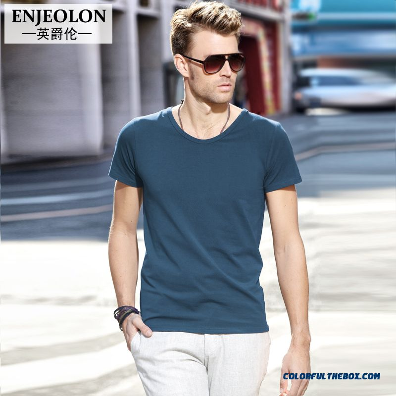 European And American Popular Youth Men Slim Short-sleeved Solid Color Tees Solid Color Simple