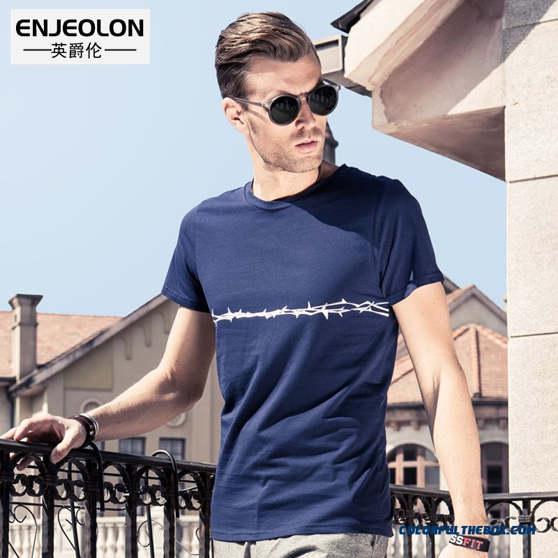 European And American Simple Printing National Slim Men Short-sleeved Tees Tide