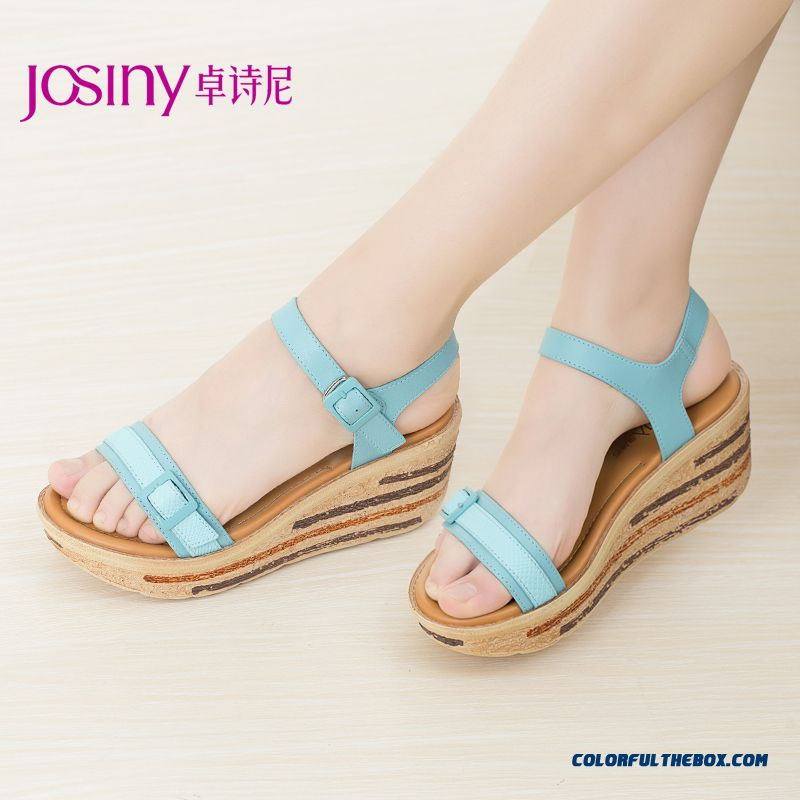 European And American Style Of New Spring Sandals Wedge Heel Open-toed High-heeled Women Shoes Buckle