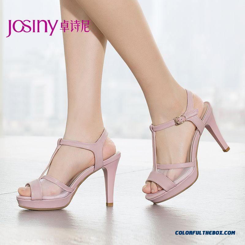European And American Style Of New Women Summer Open-toed High-heeled Sandals Fine Heel Mesh