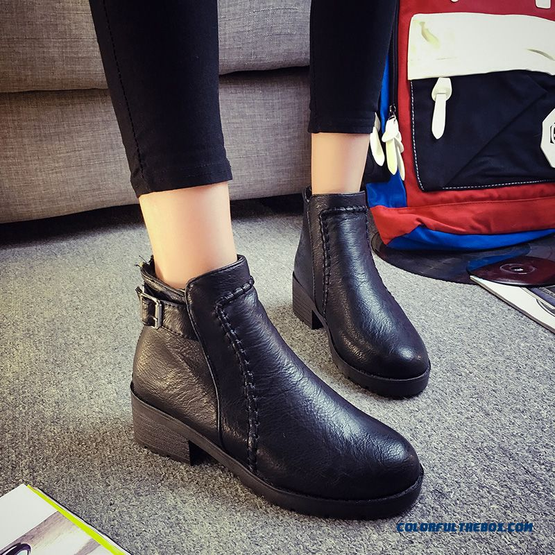European And American Style Of Women's Shoes Middle-heels Thick Heel Short Boots