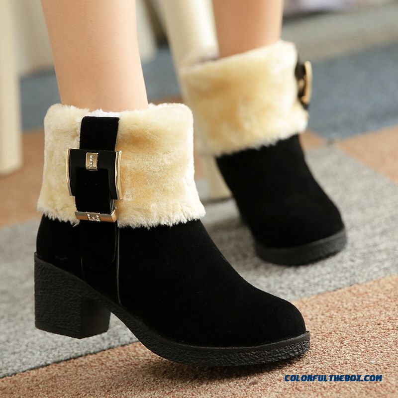 European And American Style Of Women's Shoes Round-toe Thick Heels Thick Bottom Short Boots