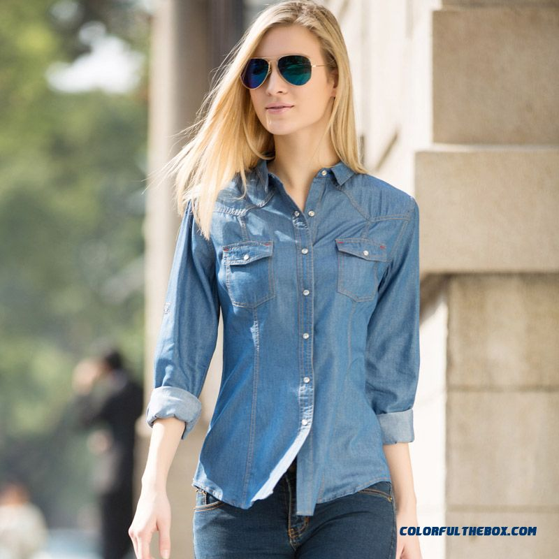 European And American Women Long-sleeved Denim Shirt Blouse Slim And Thin Light Blue Navy Blue Women' S Blouse