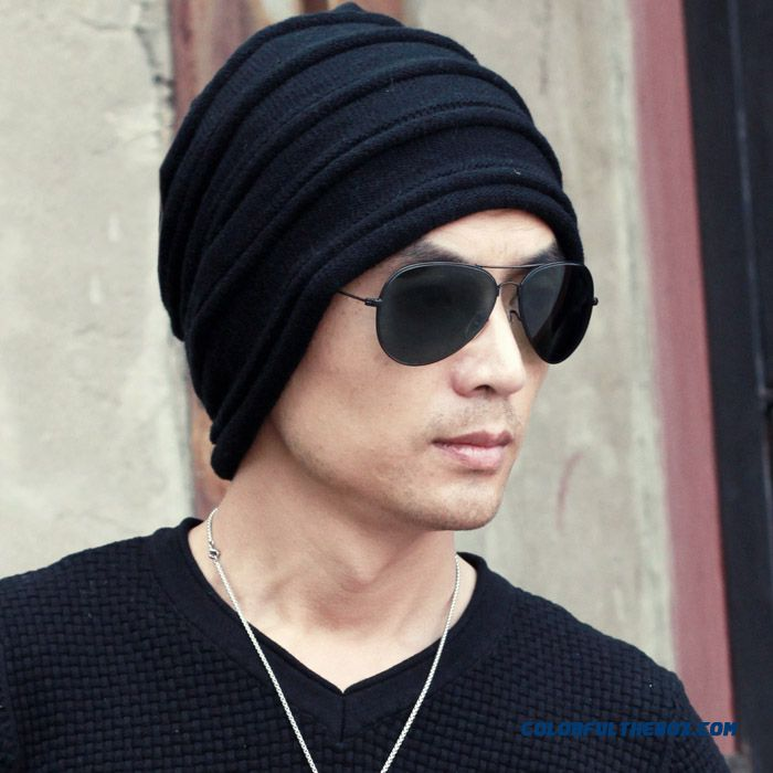 European Style Men's Accessories Large Horizontal Grid Pattern Knit Wool Cap Hats