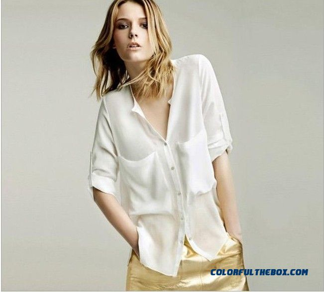 European Style Transparent Long-sleeved Women Shirt Loose Chiffon Shirt Double Big Pockets