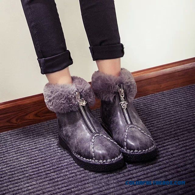 European Style Women Plus Velvet Boots Soft Rabbit Fue Round-toe Warm Shoes