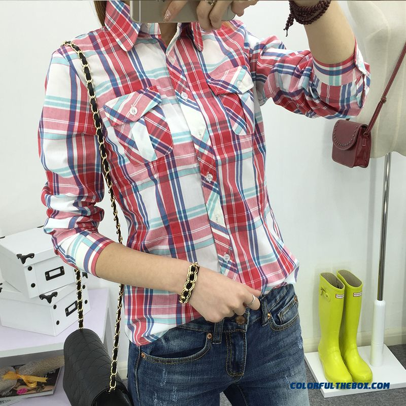 Exclusive Custom 100% Cotton Long-sleeved Plaid Shirts Women All-match Blouses