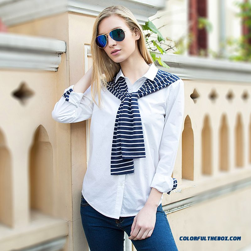 Exclusive Design Hot Sales Europe Stripes Hit Color Slim Thin Fake Two-piece Long-sleeved Shirts Women Blouses