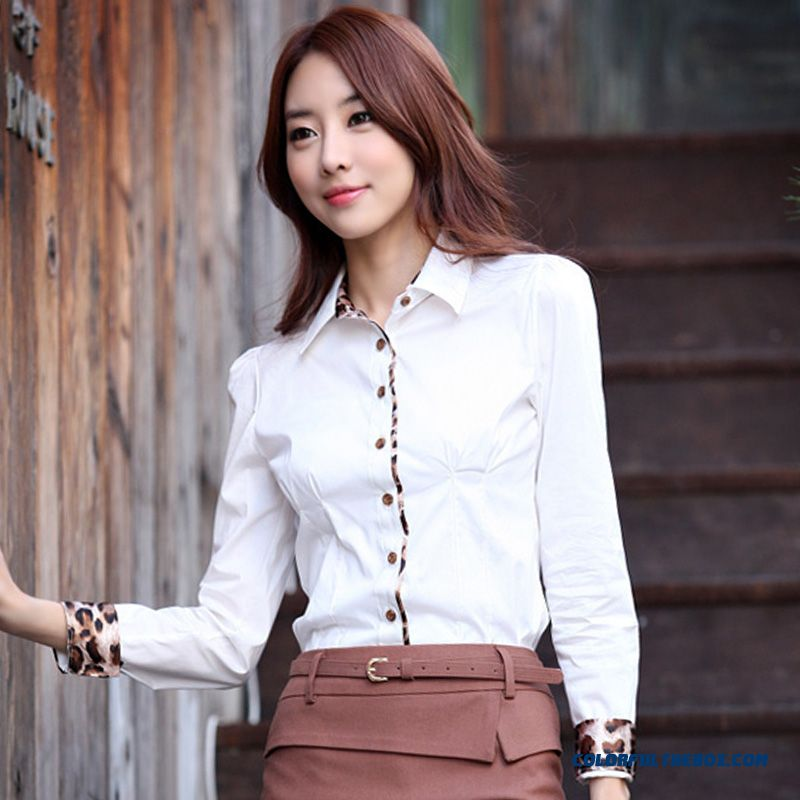 Exclusive Design Sales Slim Cotton Shirt Leopard Business Tooling Ol Occupational Women Shirt