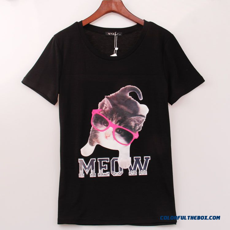Exclusive Design Sales Women Summmer Cat With Eyes Microphone Printed Round Neck Short Sleeve T-shirt
