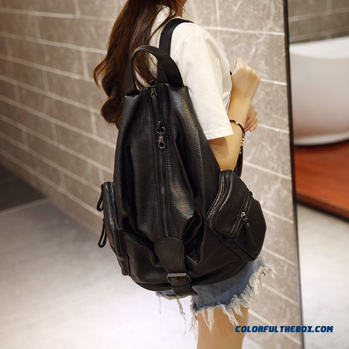 Exclusive Designed New Black Bags Fashion Washed Leather Backpack Women Traveling Bags Schoolbags