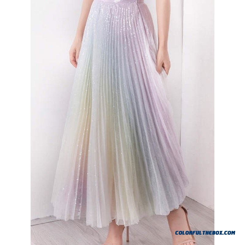 Excosmic Women Tutu High Waist Mesh Midi Pleated Gauze Sequin Elegant Skirt Female Casual Fashion Gradient Rainbow Skirt 2019