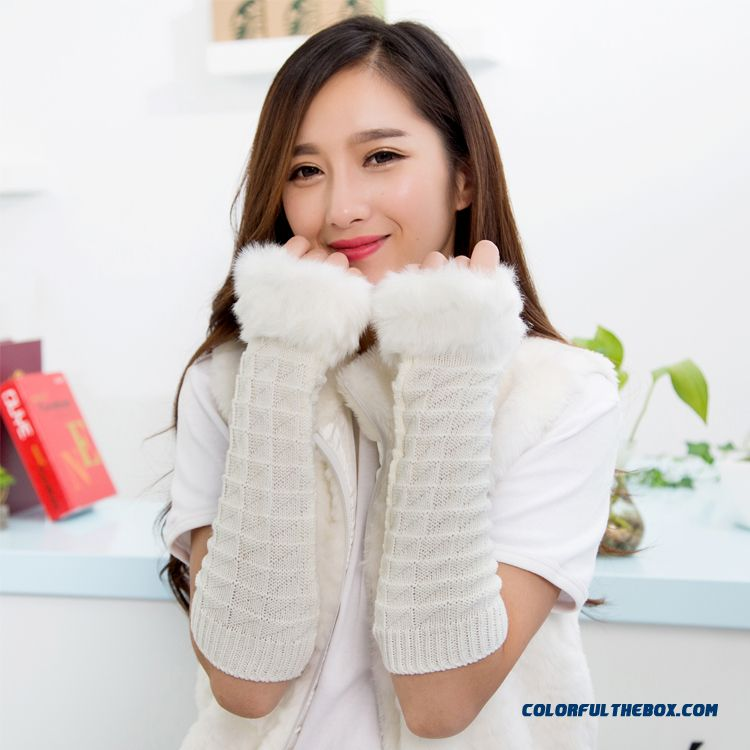 Fabulous Autumn Winter Women Favorite Gloves Knitting Wool Half-finger Long Armband Sleeves Accessories - more images 1