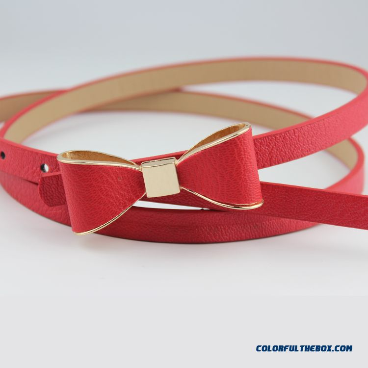 Factory Outlet All-match Bowknot Candy Color Thin Belt Ladies Cummerbuns Women Accessories Hot - more images 1