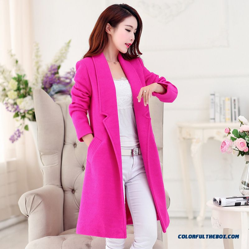 Factory Outlets Fall And Winter Clothes Large Lapel Medium-long Woolen Coat For Women