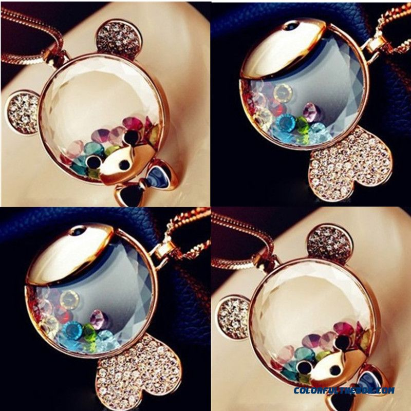 Factory Outlets High-end Fashion Cartoon Crystal Diamond Bear Goldfish Wholesale Necklace Jewelry Foe Women