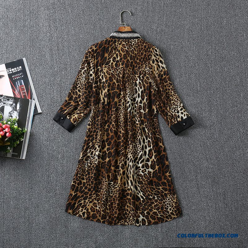 Factory Wholesale European Stations Women Fashion Beaded Leopard Shirt - more images 2