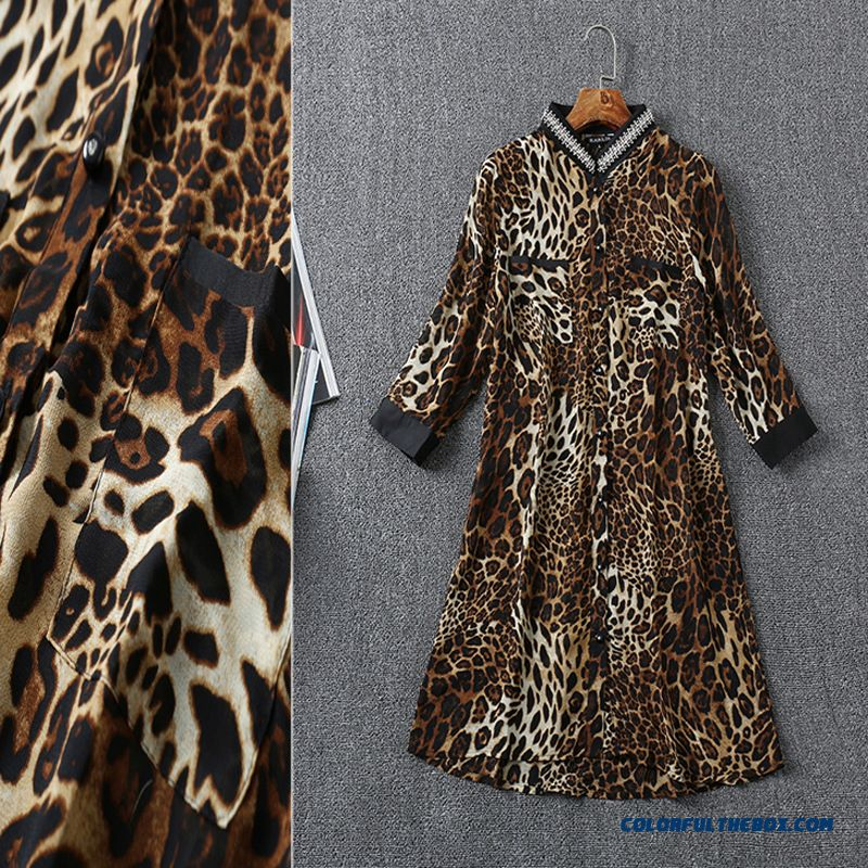Factory Wholesale European Stations Women Fashion Beaded Leopard Shirt - more images 3