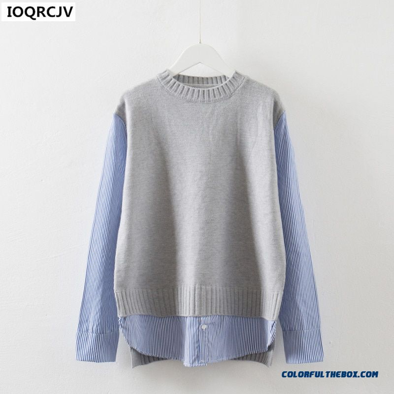 Fake Two-piece Sweater Women's Bottom Shirt 2017 Round Pullover Shirt Long Sleeve Knitting Sweater Fashion Elegant Tops Ioqrcjv