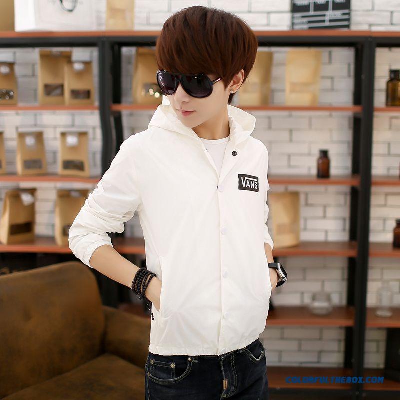 Fall 2015 Men's Jacket Korean Version Slim Thin White Young Casual Hooded Tide