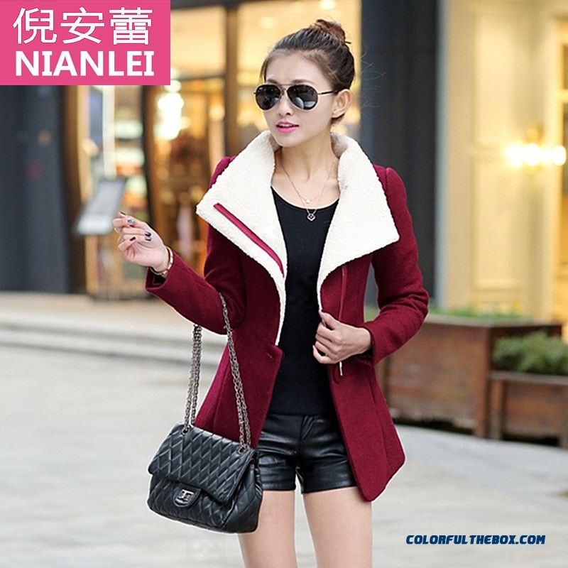 Fall And Winte Rnew Women Clothes Wool Coat Large Size New Slim Thin Red