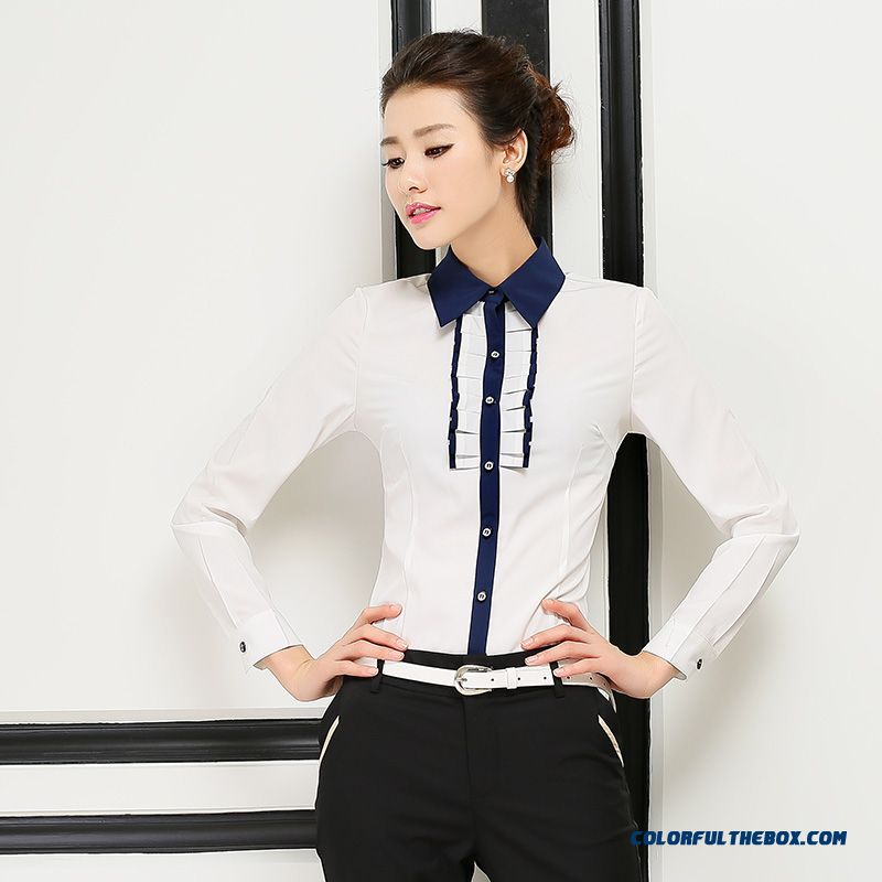 Fall And Winter Long-sleeved Chiffon Shirt Stand Collar Shirt White Lace Blouses